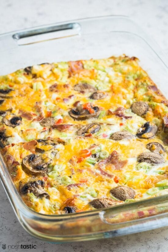 baked breakfast casserole with mushrooms an bell peppers