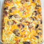 breakfast casserole in glass baking pan