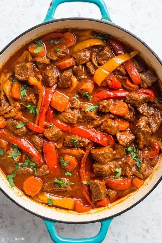 close up of Hungarian Goulash in pan