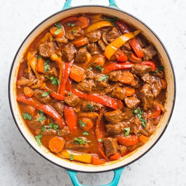 Cooked Hungarian Goulash in a Dutch Oven