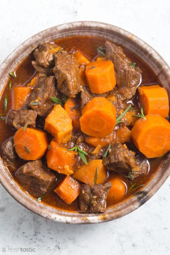 bowl of beef and carrot stew