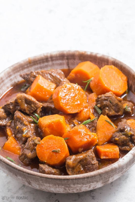 bowl of beef stew with carrots