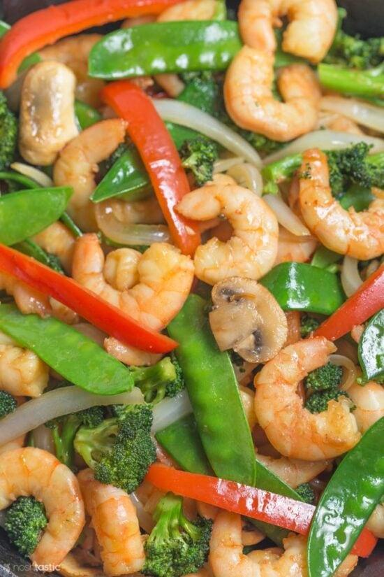 close up of shrimp vegetable stir fry