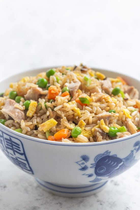 Egg fried rice in blue and white bowl