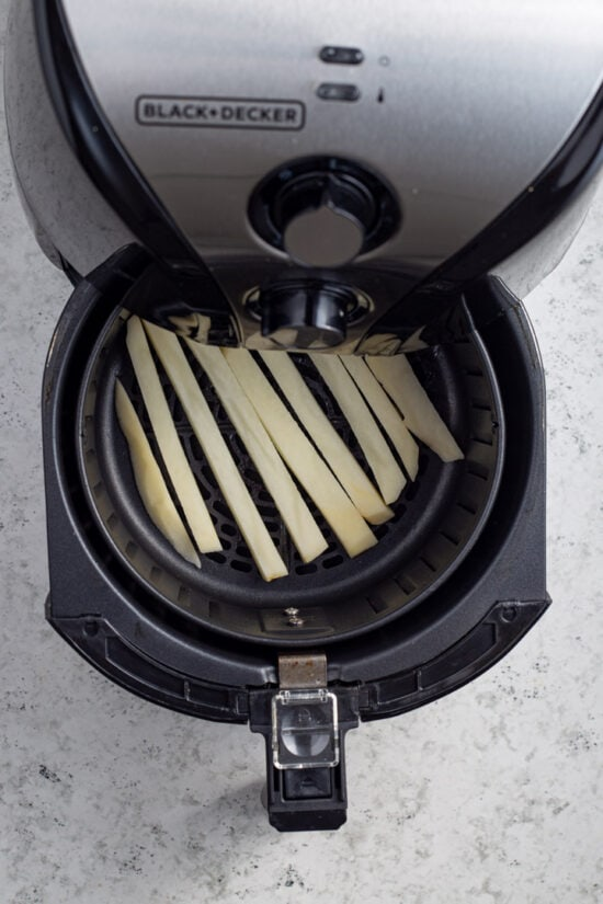 uncooked fries in air fryer